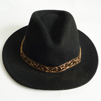 hat with metal band