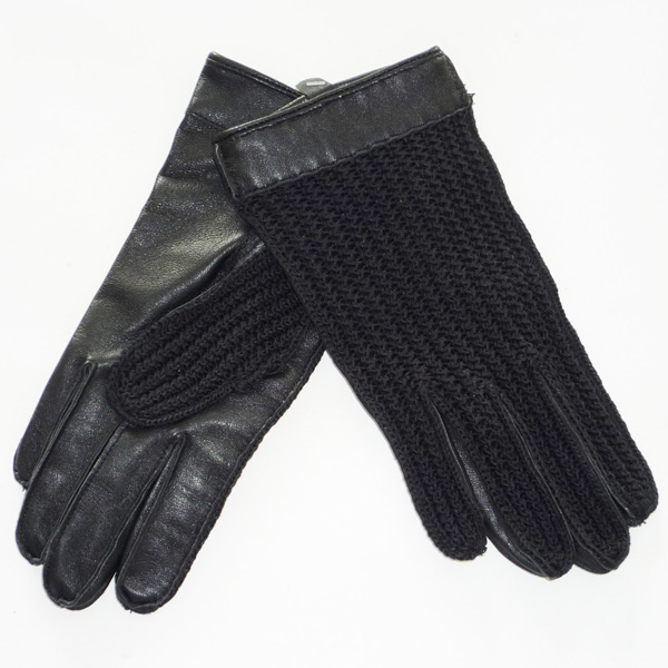 glove with knitting fabric palm back