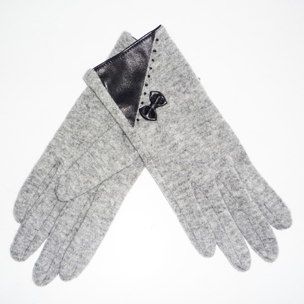 grey glove with a bow
