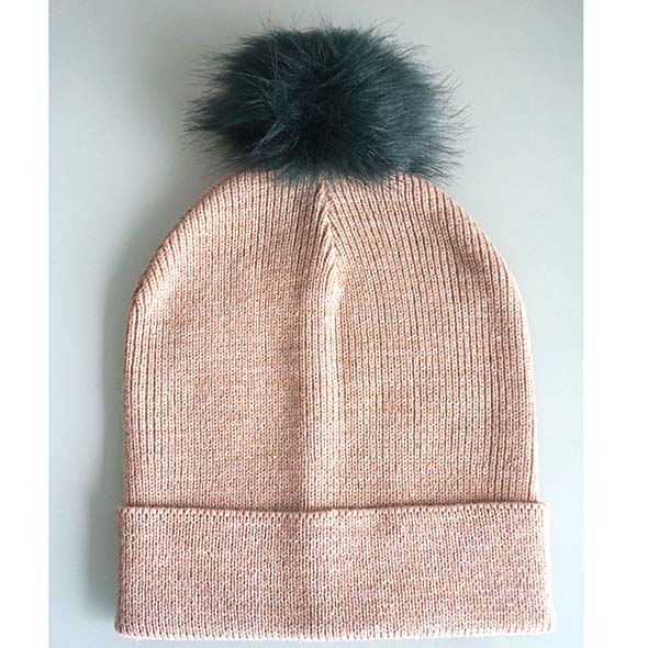 slouch beanie with fake fur pompon