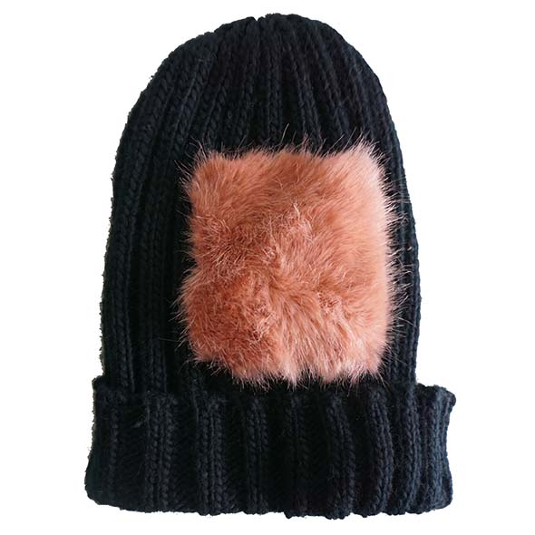 acrylic beanie with fake fur trimming