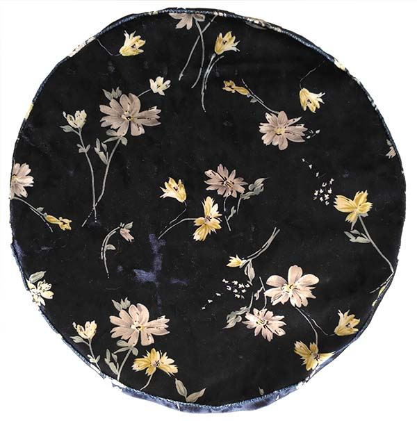 velet beret with floral print